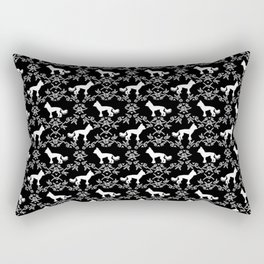 Chinese Crested silhouettes florals pet gifts unique dog breeds art black and white Rectangular Pillow