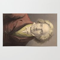 beethoven Area & Throw Rugs featuring Beethoven by Palazzo Art Gallery