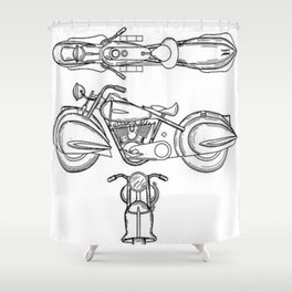 Henderson Motorcycle Prototype Streamliner Main Spec Pre-Patent Drawing Shower Curtain