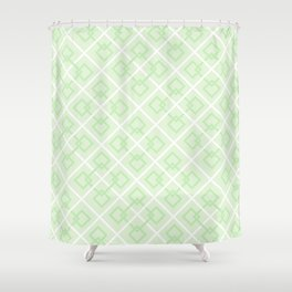 Zesty Green Interlock Cross Pattern Shower Curtain