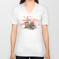 david tennant V-neck T-shirts featuring Doctor Who 10th Doctor David Tennant With Companion Rose Tyler by idillard