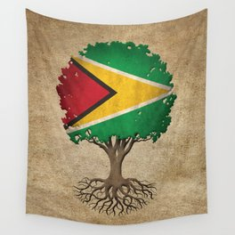 Vintage Tree of Life with Flag of Guyana Wall Tapestry