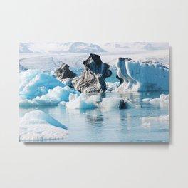 Iceberg Sculptures in Jokulslarlon Metal Print