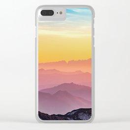 sky blue yellow orange purple Clear iPhone Case