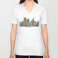 oklahoma V-neck T-shirts featuring oklahoma city skyline by bri.buckley