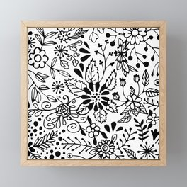 Black on White Florals Framed Mini Art Print