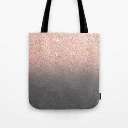 Rose gold glitter ombre grey cement concrete Tote Bag