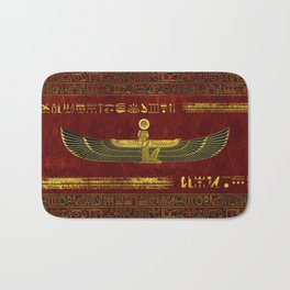 Golden Egyptian God Ornament on red leather Bath Mat