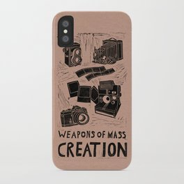 Weapons Of Mass Creation - Photography (blk on brown) iPhone Case
