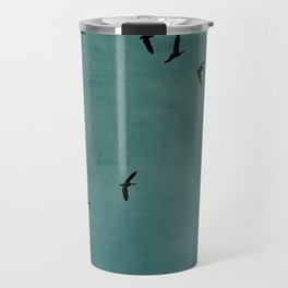 GEESE FLYING - TEAL Travel Mug