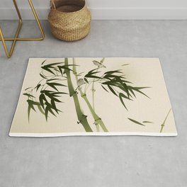 Oriental style painting, bamboo branches Rug
