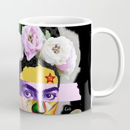 Frida Kahlo Portrait Abstract Pop Collage Art by Michel Keck Coffee Mug