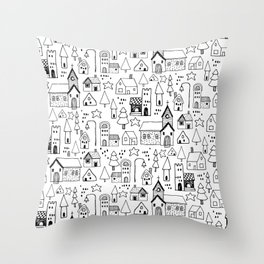Tiny town: playful black and white line art of a whimsical town Throw Pillow