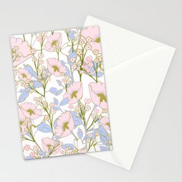 Springtime Butterfly in periwinkle & pink Stationery Cards