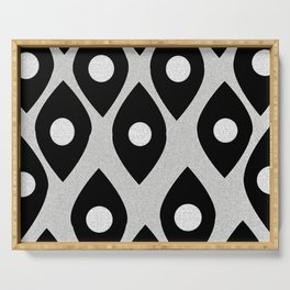Black and White Pattern Fish Eye Design Serving Tray