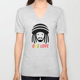 One Love Rasta Hair Dreadlocks Unisex V-Neck
