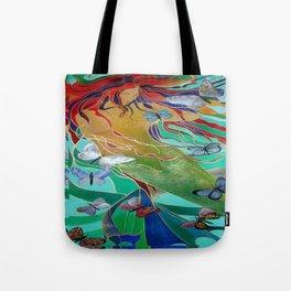 Mermaid and Butterflies Tote Bag