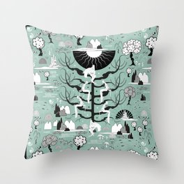 The six princesses (Celadon) Throw Pillow