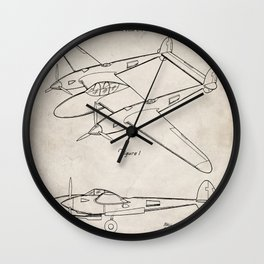 Lockheed P-31 Airplane Patent - Lightning Aircraft Art - Antique Wall Clock