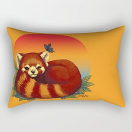 Red Panda Has Blue Butterfly Friend Rectangular Pillow
