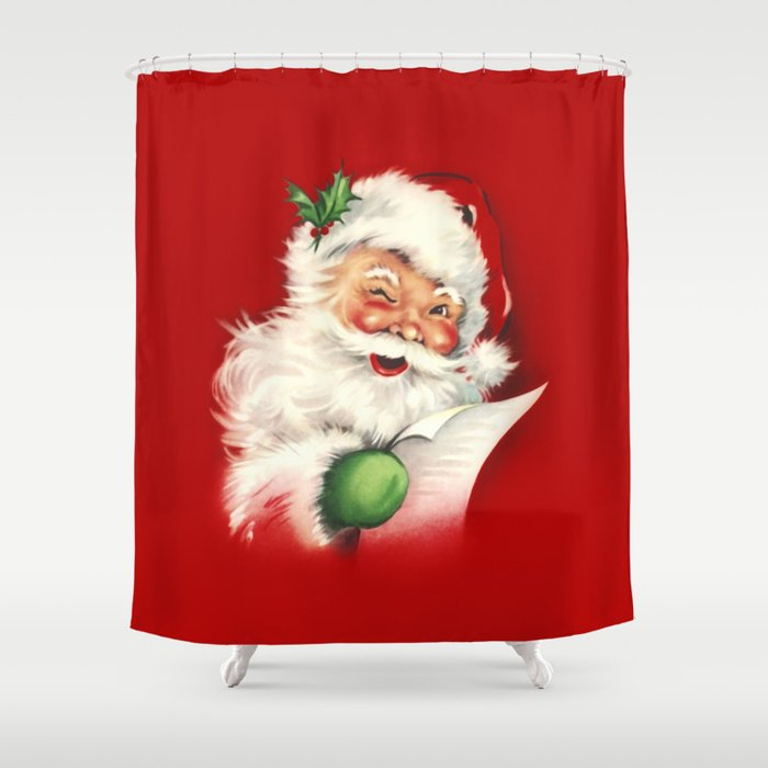 Vintage Santa Shower Curtain