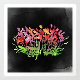 Wild Flowers on Black Art Print