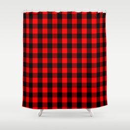 Classic Red And Black Buffalo Check Plaid Tartan Shower Curtain
