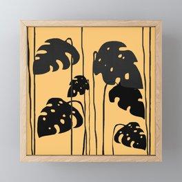 gold and black leaves Framed Mini Art Print