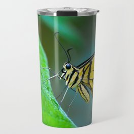 Butterfly , cute insect with multicolor colored wings sitting on green leaf on natural background. W Travel Mug