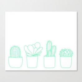 Succulents (Minty Palette) Canvas Print