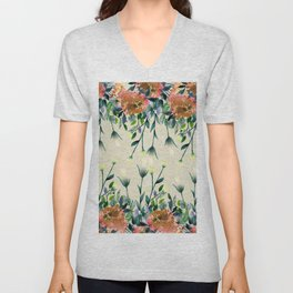 Hand painted modern ivory orange brown watercolor floral Unisex V-Neck
