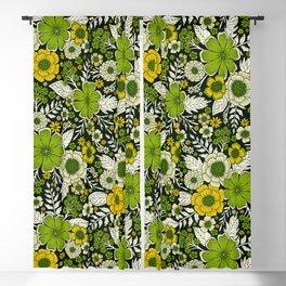 Modern Yellow & Green Floral Pattern Blackout Curtain