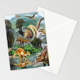 Jurassic dinosaurs drink in the river Stationery Cards