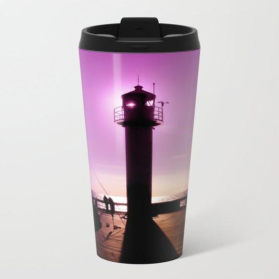 Romance At Sunset Under Sea Lighthouse Metal Travel Mug