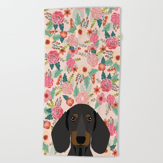 Dachshund florals cute pet gifts black and tan dachshund gifts for dog lover with weener dog Beach Towel