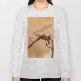Painted Dragonfly Isolated Against Ecru Long Sleeve T-shirt