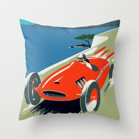 grand theft auto Throw Pillows featuring Retro style auto Grand Prix Rivièra by aapshop