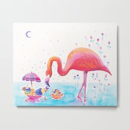 Flamingo Print - Ice-cream Party Metal Print