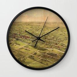 Vintage Pictorial Map of Lansing Michigan (1866) Wall Clock