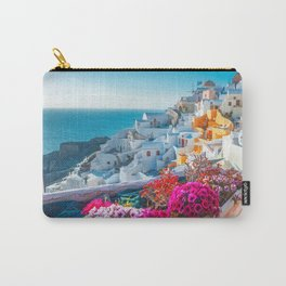 Santorini Greece Pink Flowers Path in Oia Wall Art Prints  Carry-All Pouch
