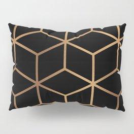Black and Gold - Geometric Cube Design Pillow Sham