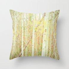 White Birch Trees - Yellow Throw Pillow
