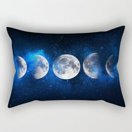 Phases of the Moon Blue Rectangular Pillow