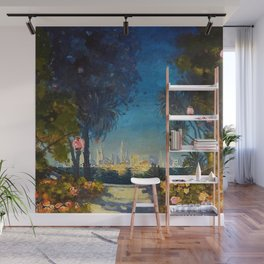 Nighttime Garden View with lanterns across a Lake towards a City by Thomas Mostyn Wall Mural