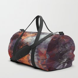 psychedelic geometric polygon shape pattern abstract in orange brown red black Duffle Bag