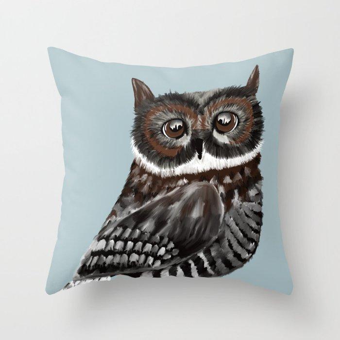 Adorable Owl In Blue Throw Pillow