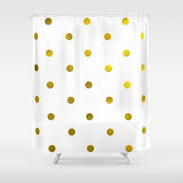 Faux gold foil polka dots Shower Curtain