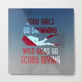 Wild girls go scuba diving Metal Print