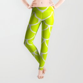 Chartreuse Fish Scales Pattern Leggings