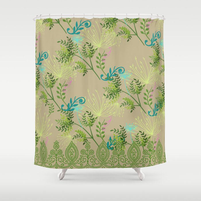 Botanical With Henna Border Shower Curtain